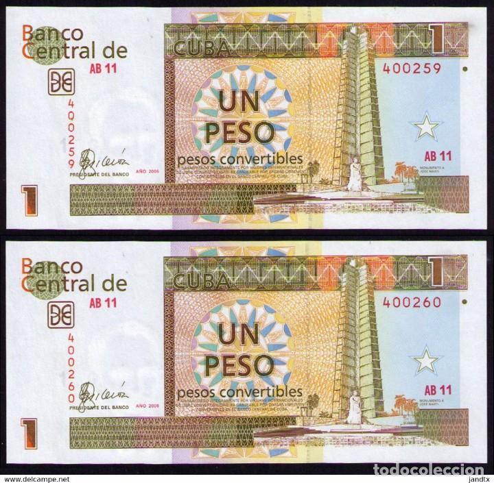 CUBA 2006 1 PESO CUC PLANCHA SECUENCIA SC-UNC PICK FX46A (Numismática - Notafilia - Billetes Internacionales)