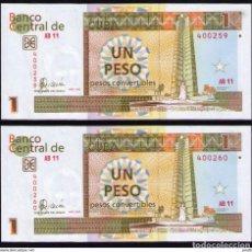 Billetes extranjeros: CUBA 2006 1 PESO CUC PLANCHA SECUENCIA SC-UNC PICK FX46A. Lote 244815915