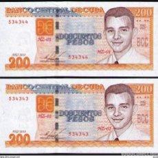 Billetes extranjeros: CUBA 2010 200 PESOS REMPLAZO PLANCHA SC-UNC SECUENCIA PICK130AR. Lote 244816775