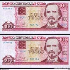 Billetes extranjeros: CUBA 2017 100 PESOS Nº BAJO PLANCHA SC-UNC SECUENCIA PICK129IR. Lote 244819065