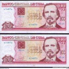Billetes extranjeros: CUBA 2017 100 PESOS REMPLAZO PLANCHA SC-UNC SECUENCIA PICK129IR. Lote 244819930