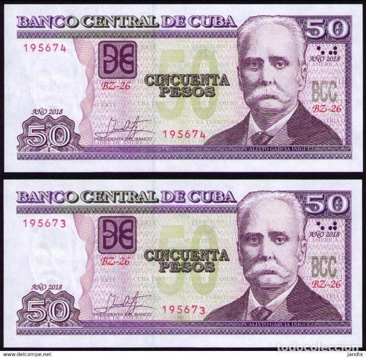 CUBA 2018 50 PESOS REMPLAZO PLANCHA SC-UNC SECUENCIA PICK123MR (Numismática - Notafilia - Billetes Internacionales)