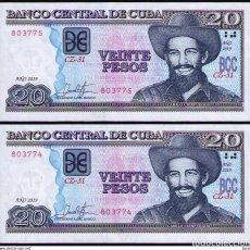 Billetes extranjeros: CUBA 2019 20 PESOS REMPLAZO PLANCHA SC-UNC SECUENCIA PICK122MR. Lote 244821030