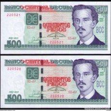 Billetes extranjeros: CUBA 2019 500 PESOS CONMEMORATIVO REMPLAZO PLANCHA SC-UNC SECUENCIA PICK131CR. Lote 244821800