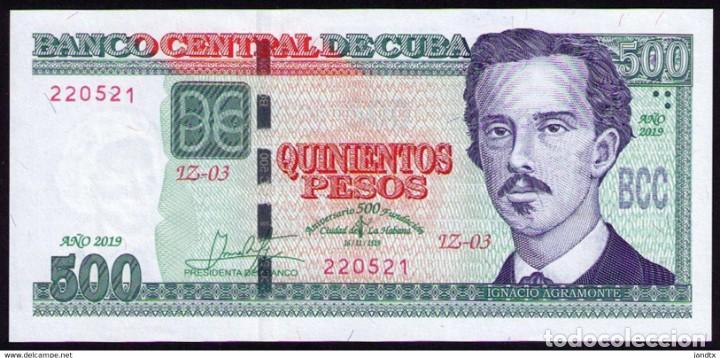 Billetes extranjeros: CUBA 2019 500 PESOS CONMEMORATIVO REMPLAZO PLANCHA SC-UNC SECUENCIA PICK131CR - Foto 3 - 244821800