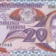 Billetes extranjeros: BILLETES - TANZANIA - 20 SHILINGI (1987) - SERIE GD - PICK-15 (EBC+). Lote 244844360