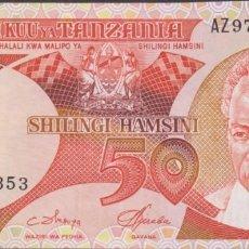Billetes extranjeros: BILLETES - TANZANIA - 50 SHILINGI (1986) - SERIE AZ - PICK-13 (EBC+). Lote 244844855