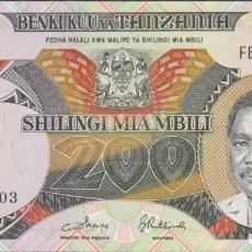 Billetes extranjeros: BILLETES - TANZANIA - 200 SHILINGI (1986) - SERIE FB - PICK-18A (SC-). Lote 244846705