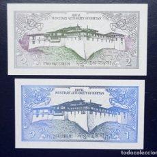 Billetes extranjeros: BUTHAN / BUTAN. LOTE DE 2 BILLETES DE 1 Y 2 NGULTRIN. AÑO 1986. PICKS: 12, 13. Lote 245103500