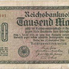 Billetes extranjeros: ALEMANIA - GERMANY 1.000 MARK 15-9-1922 PK 76.C.4. Lote 245128940