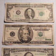 Billetes extranjeros: ESTADOS UNIDOS 100 , DOLARES 1990 (FRANKLIN) S/C MAS UNO 20, 10 Y 8 DE UN DOLAR. Lote 245171885