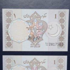 Billetes extranjeros: PAKISTÁN. LOTE DE 2 BILLETES DE 1 RUPIA 1981 Y 1986. PICKS: 27. Lote 245175855