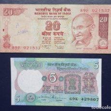 Billetes extranjeros: INDIA. LOTE DE 2 BILLETES DE 5 Y 20 RUPIAS. AÑOS 1997 Y 2010. PICKS: 80Q, 96. Lote 245176835
