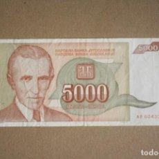 Billetes extranjeros: YUGOSLAVIA - 5000 DINARA 1993 SERIE AB6043365 MBC. Lote 245396750