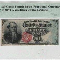 Billetes extranjeros: BILLETE ESTADOS UNIDOS 50 CTS. HALF $ - CERTIFICADO PMG - BANKNOTE DOLLAR NGC PCGS DOLARES ORO PLATA. Lote 245420640