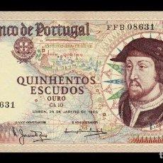 Billetes extranjeros: PORTUGAL 500 ESCUDOS 1966 PICK 170A FIRMA 4 SC UNC. Lote 245897960