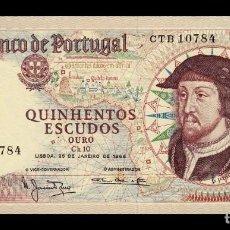 Billetes extranjeros: PORTUGAL 500 ESCUDOS 1966 PICK 170A FIRMA 3 SC UNC. Lote 245899240