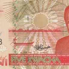 Billetes extranjeros: MALAWI 5 KWACHA 1995. Lote 245899850