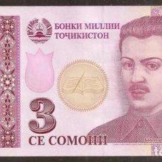 Billetes extranjeros: TAJIKISTAN. 3 SOMONI 2010. PICK 20. S/C. REPOSICION - SERIE GZ.. Lote 245952350