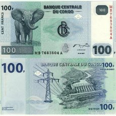 Billets internationaux: CONGO 100 FRANCOS ND 2007-2013 PICK 92 UNC (LEER CONDICIONES DE VENTA EN DESCRIPCION). Lote 246228655