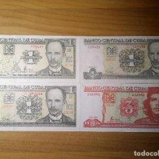 Billetes extranjeros: 4 BILLETES CUBA 1 PESO S/C NUEVOS. Lote 274933263