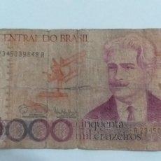 Billetes extranjeros: BILLETE 50.000 CRUZEIROS BANCO DE BRASIL. Lote 247448825