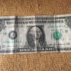 Billetes extranjeros: BILLETE UN DÓLAR USA SERIE VERDE LETRA J. Lote 248011365