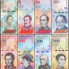 Billetes extranjeros: VENEZUELA SET 8 PCS 2 5 10 20 50 100 200 500 BOLIVARES SOBERANOS 2018 P NEW UNC. Lote 248029225