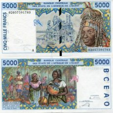 Billetes extranjeros: WEST AFRICAN STATES 5000 5,000 FRANCS 2002 P 113A IVORY COAST UNC. Lote 248029980