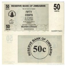 Billets internationaux: ZIMBABWE - 50 CENTS DE 2006 - SIN CIRCULAR. Lote 286315123