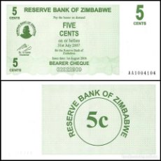 Billets internationaux: ZIMBABWE - 5 CENTS DE 2006 - SIN CIRCULAR. Lote 248602750
