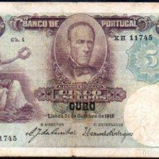 Billetes extranjeros: PORTUGAL 5 ESCUDOS 31 DE OCTUBRE 1916 - PICK 114. Lote 43241213