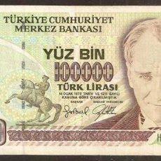 Billetes extranjeros: TURQUIA. 100000 LIRA (1997). PICK 206. SERIE H. SIN ORNAMENTO EN LA ESQ. SUP. DCHA.. Lote 248793495