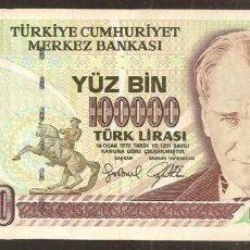 Billetes extranjeros: TURQUIA. 100000 LIRA (1997). PICK 206. SERIE H. SIN ORNAMENTO EN LA ESQ. SUP. DCHA.. Lote 248793510