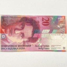 Billetes extranjeros: SUIZA BILLETE 20 FRANCOS NUMERO SERIE 95N0562141 (VER FOTO). Lote 249334125
