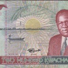 Billetes extranjeros: BILLETES MALAWI - 200 KWACHA 1995 - SERIE AQ - PICK-35 (MBC). Lote 251026595