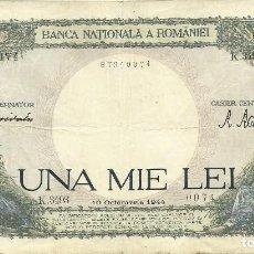 Banconote internazionali: 1000 LEI RUMANIA - 1944 - K.3493 0074 - FOTOS. Lote 251160315