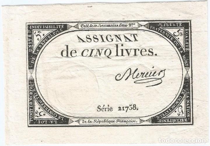 FRANCIA - FRANCE 5 LIVRES 31-10-1793 PK-A 76 (Numismática - Notafilia - Billetes Internacionales)