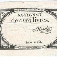 Billetes extranjeros: FRANCIA - FRANCE 5 LIVRES 31-10-1793 PK-A 76. Lote 251575330