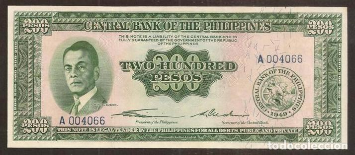 FILIPINAS. 200 PESOS 1949. PICK 140. S/C. VER DESCRIPCIÓN. (Numismática - Notafilia - Billetes Internacionales)