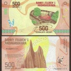 Billetes extranjeros: MADAGASCAR. BONITO 500 ARIARY 2017. PICK 99. S/C. FAUNA, FLORA. HIBRIDO.. Lote 297265613