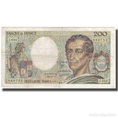 Billetes extranjeros: FRANCIA, 200 FRANCS, MONTESQUIEU, 1987, BC, FAYETTE:70.7, KM:155B. Lote 252873710