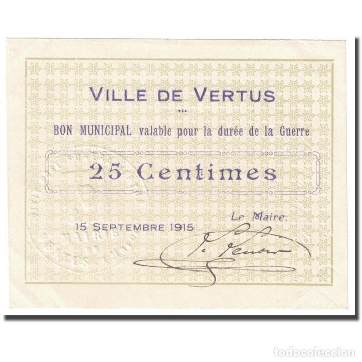 FRANCIA, VERTUS, 25 CENTIMES, 1915, BON MUNICIPAL., SC, PIROT:51-50 (Numismática - Notafilia - Billetes Internacionales)