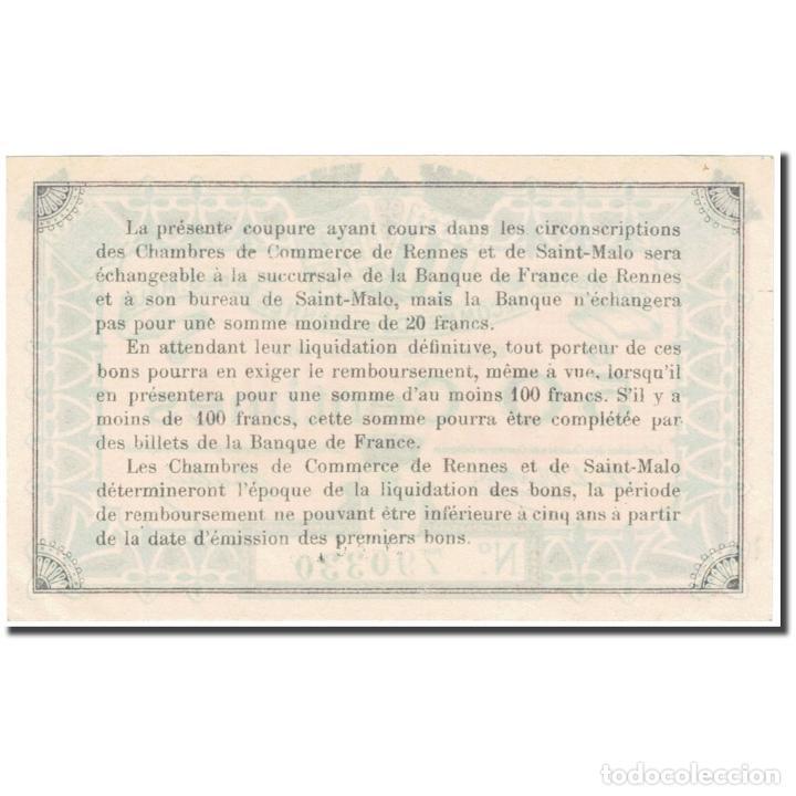 Billetes extranjeros: Francia, Rennes & St-Malo, 50 Centimes, 1915, Chambre de Commerce, EBC - Foto 2 - 253560410
