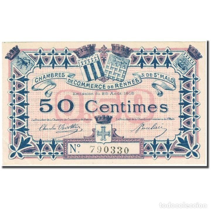 FRANCIA, RENNES & ST-MALO, 50 CENTIMES, 1915, CHAMBRE DE COMMERCE, EBC (Numismática - Notafilia - Billetes Internacionales)