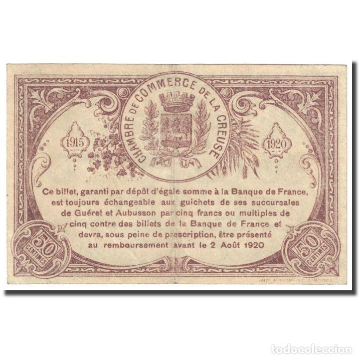 Billetes extranjeros: Francia, Guéret & Aubusson., 50 Centimes, 1915, Chambre de Commerce, MBC - Foto 2 - 253560930