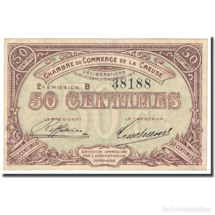 FRANCIA, GUÉRET & AUBUSSON., 50 CENTIMES, 1915, CHAMBRE DE COMMERCE, MBC (Numismática - Notafilia - Billetes Internacionales)