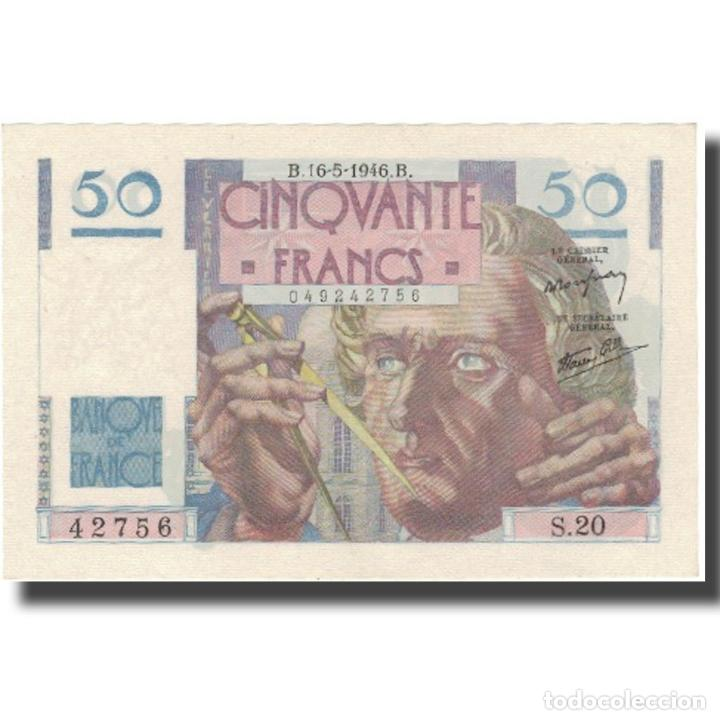 FRANCIA, 50 FRANCS, LE VERRIER, 1946, 1946-05-16, SC+, FAYETTE:20.4, KM:127B (Numismática - Notafilia - Billetes Internacionales)
