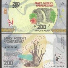 Billetes extranjeros: MADAGASCAR. BONITO 200 ARIARY 2017. PICK 98. S/C. FAUNA, FLORA.. Lote 297265573