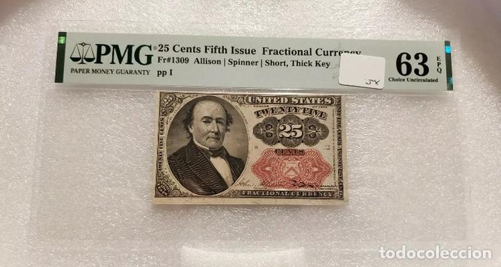 BILLETE 25 CTS DÓLAR - ESTADOS UNIDOS S. XIX - CERTIFICADO PMG - RARÍSIMO (EEUU DOLLAR) (Numismática - Notafilia - Billetes Internacionales)